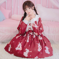 Lolita Dress Sweet Musician Rabbit Print Cute Japanese Kawaii Girls Princess Vintage Gothic Printed Lace White Red Summer Skirt