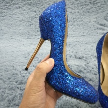 цены Women Stiletto Thin Iron High Heel Pumps Sexy Round Toe Blue Glitter Fashion Wedding Party Bridal Ball Lady Shoes 3845-b
