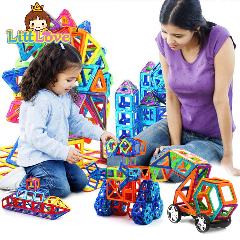 ФОТО LittLove 107 PCs Magnetic Designer Construction Set Model & Building Toy Plastic Educational Magnetic Blocks Toys For Kids