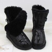 Free Shipping 2018 Genuine Sheepskin Leather Snow Boots Australia Classic Women Boots Women Shoes Warm Winter