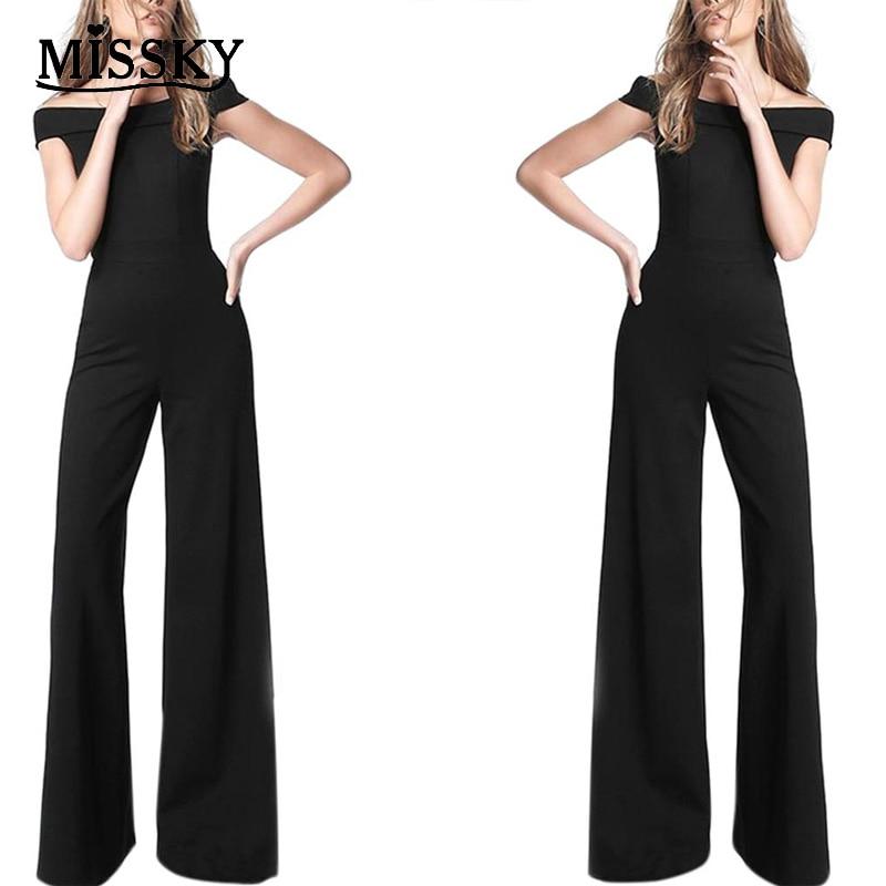 MISSKY Women Summer   Jumpsuit   Black Color Fashion Sexy Elegant Slim Off Shoulder One-piece   Jumpsuit   Siamese Pants Female Clothes