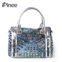 Ipinee Новое поступление 2017 бренд Сумки multi Цветной diamond джинсовая сумка леди вязать кожаная сумка Для женщин Сумки