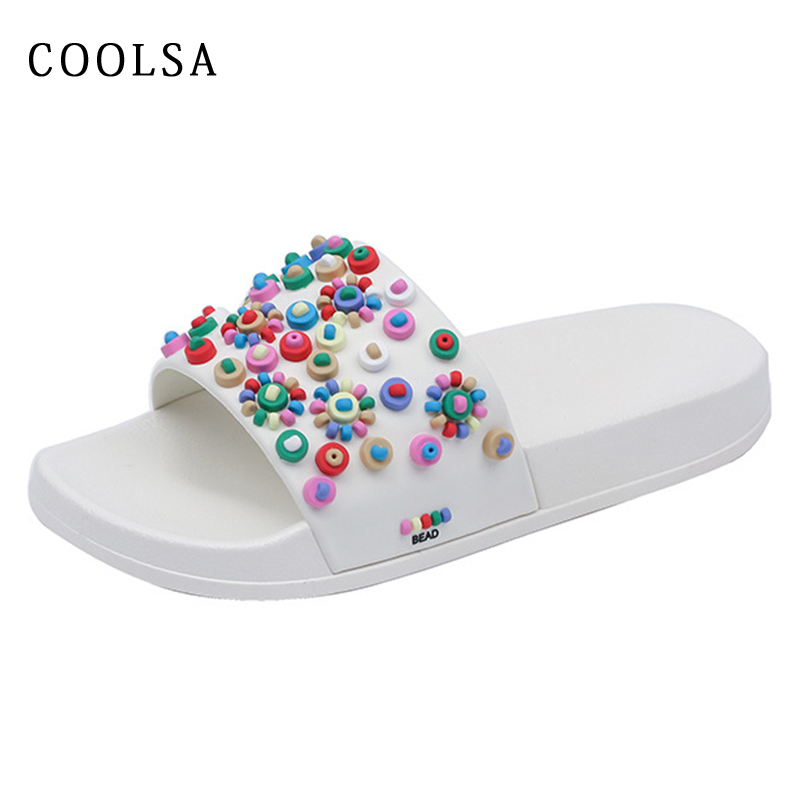 Summer Flat Women Home Slippers Candy Mixed Colors Bead Slides Soft Non-slip Outdoor Beach Sandals Ladies Sweet Shoes Flip Flops