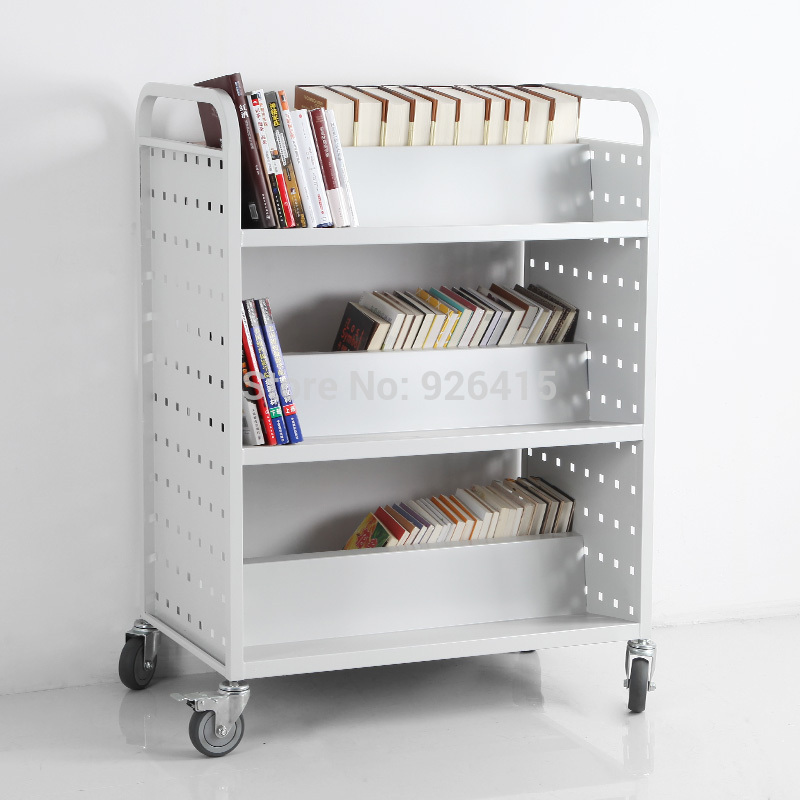 Library Bookshelf With Wheels Three Shelf Office Archives Trolley Magazine Storage Rack Metal Book Trucks Rca Lib15 In Furniture From