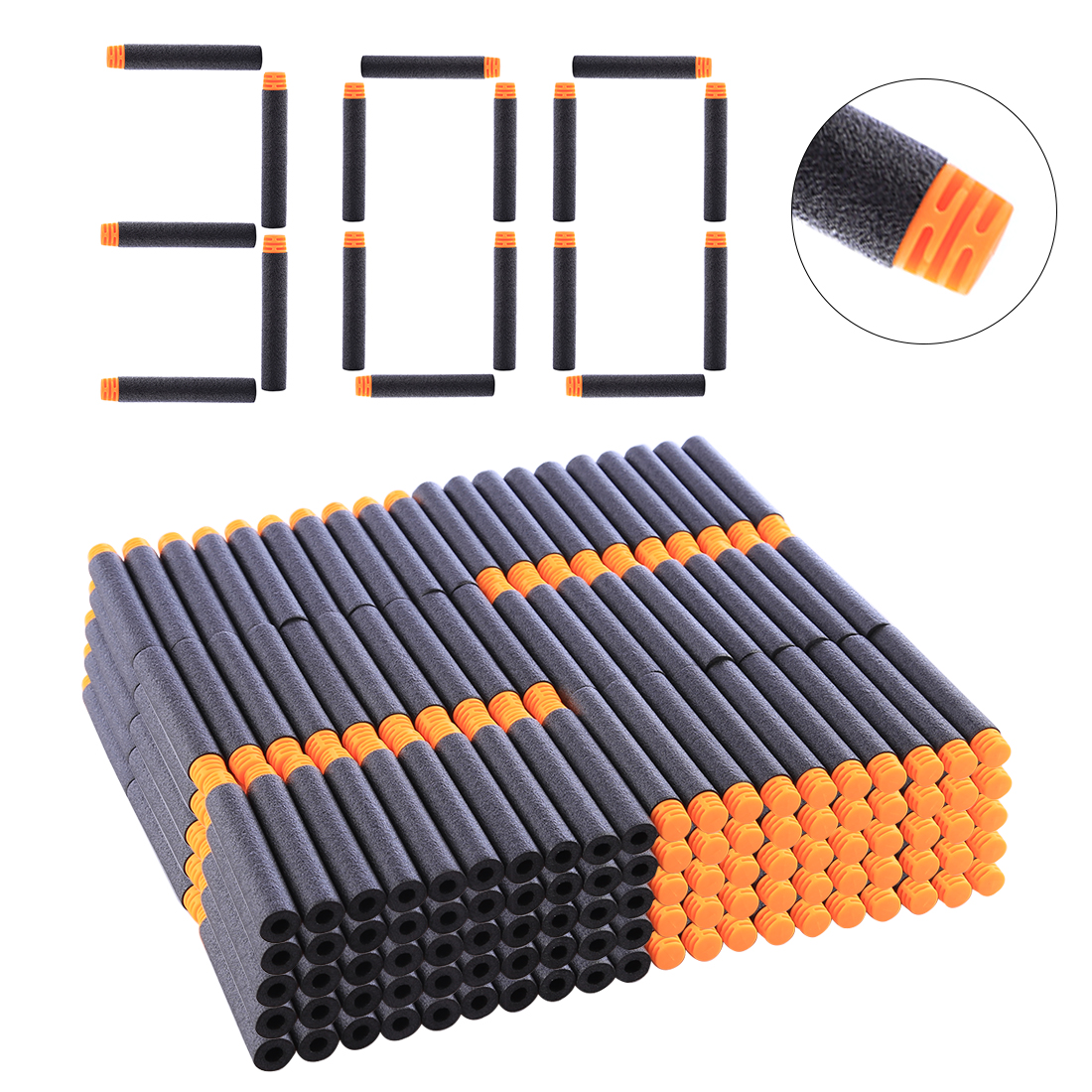 NFSTRIKE 300Pcs/400Pcs/1000Pcs Hollow Foam High Buffered Soft Bullet Flat Head Soft Darts For Nerf - Orange Head + Black Sponge