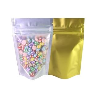 Image 5 - Recyclebaar Matte Clear Front Ziplock Opbergzakken Metallic Mylar Eco Plastic Stand Up Pouches Food Pakket Voor Nieuwe Jaar