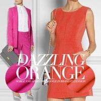 Temptation Peach Orange Collision Stretch Cotton Fashion Fabric Very Thin Pinstripe