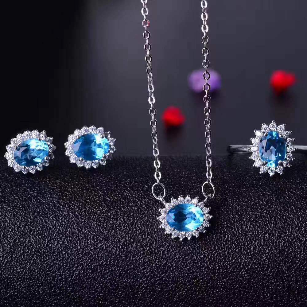 KJJEAXCMY boutique jewels 925 sterling silver inlaid with blue topaz ring + pendant + earrings necklace with silver gold color. - 4