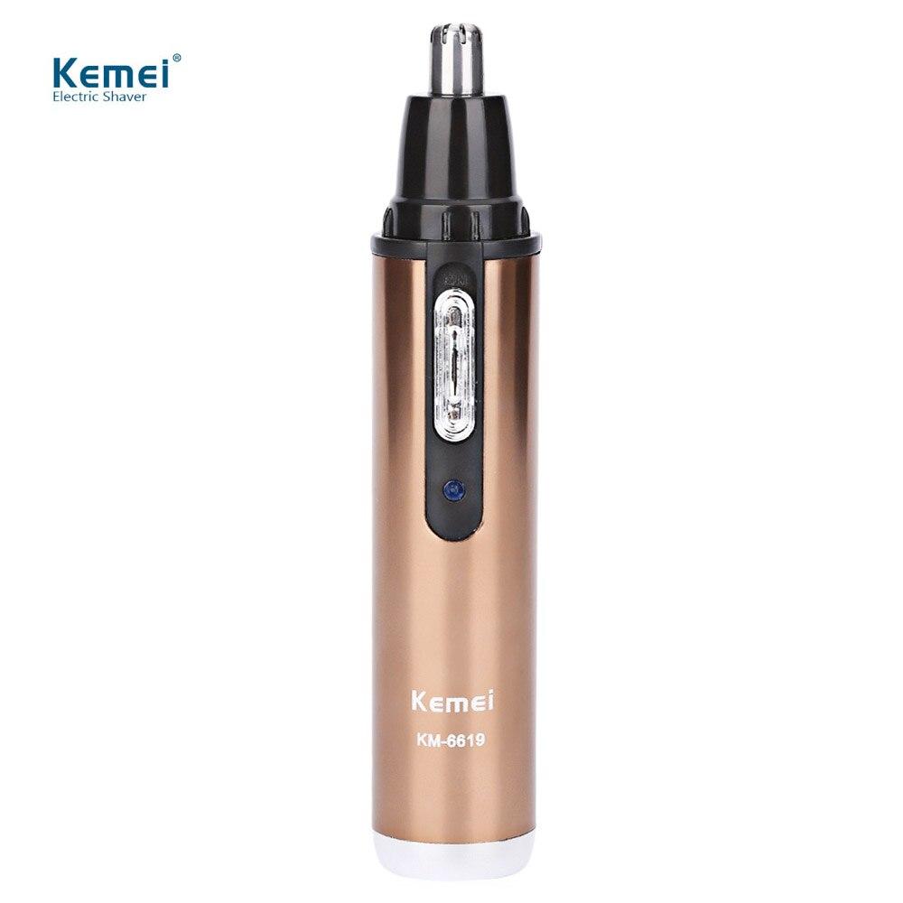 Kemei KM-6619 de afeitar eléctrica nariz Trimmer pelo recargable lavable seguro cuidado afeitadora cortapatillas para nariz Trimer 110-240 V