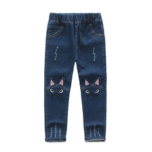 Cute Cartoon Pattern Kids Jeans Spring Autumn Winter Lovely Cat High Quality Children Pants Casual trouses Baby Girls Jeans