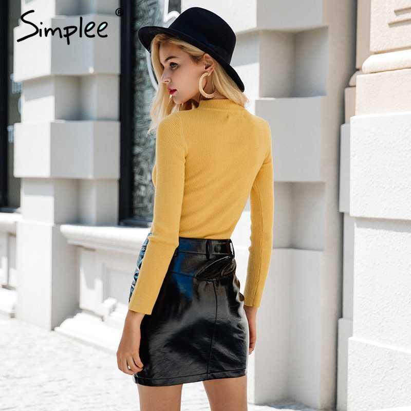 Simplee Halter lange mouwen gebreide trui vrouwen tops Herfst geel v-hals korte winter trui Casual dames jumper pull femme