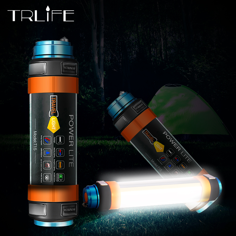 USB LED Camping Lantern 7800mAH Tent Light Lamp IP68 Waterproof Rechargeable Magnetic Hiking Working Fishing SOS Flashlight