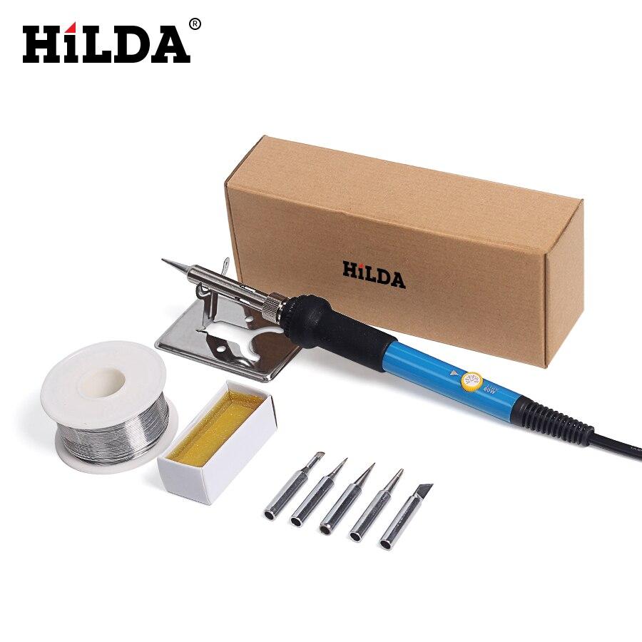 HILDA 220 V 60 Watt EU Elektrische Lötkolben Mit 5 stücke Eisen Tipps Einstellbare Temperatur Solder Station Stand Solder draht Tool Kit