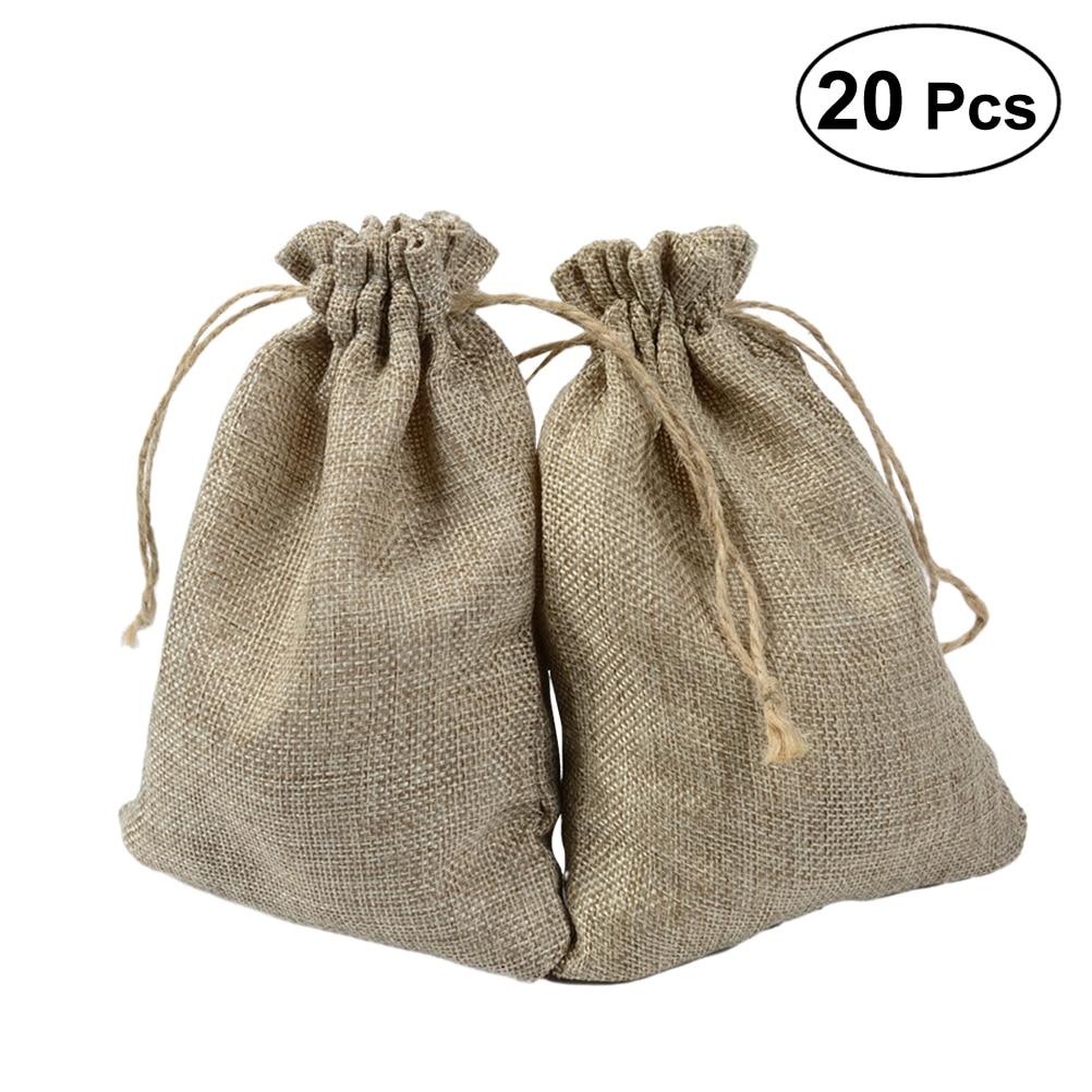 Diy Burlap Sack: 20pcs Burlap Bags Linen Jute Candy Goodie Jewelry Gift