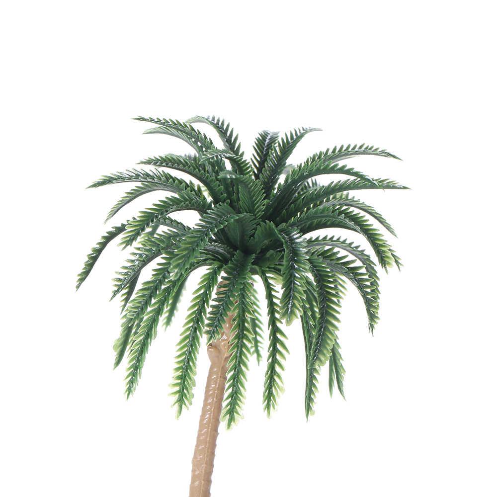 15pcs Artificial Miniature Palm Trees Scenery Layout Model Plastic Tree Train Coconut Rainforest Toys for Home Garden Decoration