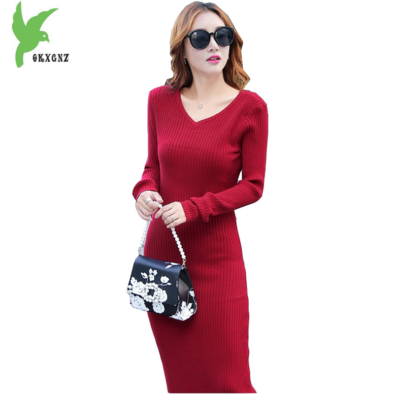 New Women's Autumn Winter Knitted Dress Fashion Solid Color Lengthened Package Hip Dress Pullover Sweater Sexy Dress OKXGNZ A950 new 2017 hats for women mix color cotton unisex men winter women fashion hip hop knitted warm hat female beanies cap6a03