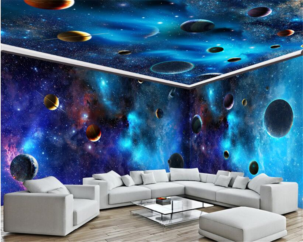 beibehang Custom-made aesthetical personality stereoscopic wallpaper star Galaxy interior decoration painting background tapety