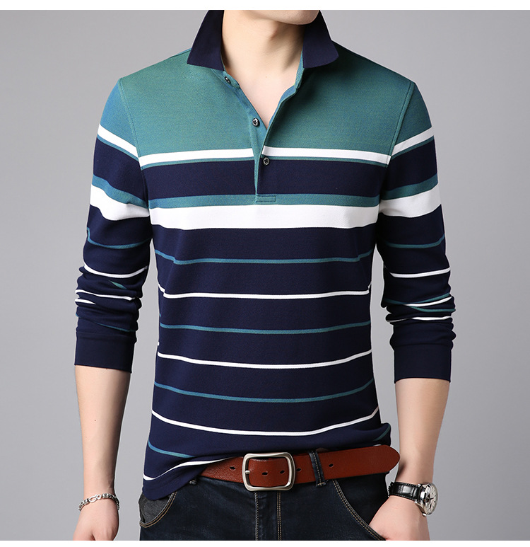 Top Quality Men   Polo   Shirt 2019 New Summer Business Casual Breathable Striped Long Sleeve   Polo   Shirt Clothes