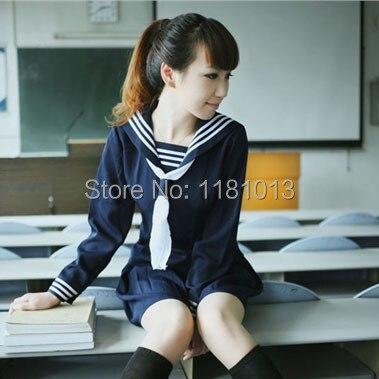 Japoński strój uczniowski Mały świeży mundurek szkolny dziewczęce usługi klasyczne klasyczne letnie sukienki marynarskie