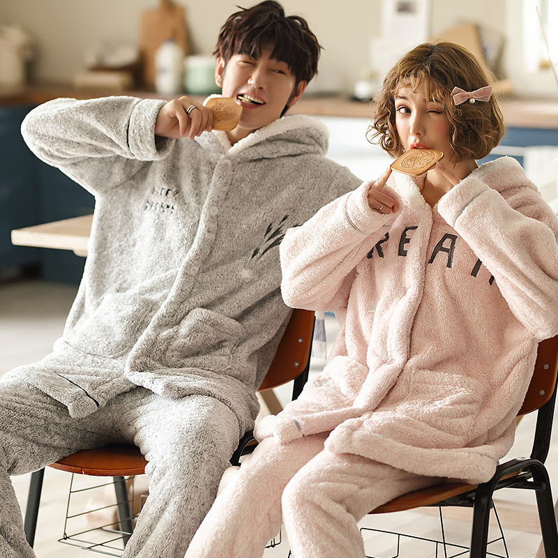 Autumn Winter Warm Flannel Thick   Pajamas   Hooded Coral Fleece Women's   Pajama     Sets   Couple Pyjamas Men Sleepwear 3XL Home Clothing