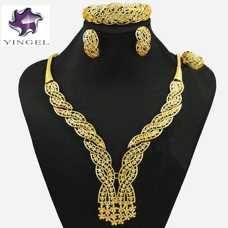zlaté šperky sady nový design šperky sady pro africké ženy módní náhrdelník svatební šperky sady svatební šperky sady pro nevěstu