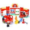 DIY большой строительный блок  городская пожарная машина  игрушки  совместимые с Duploed  большие блоки  городская пожарная станция  блоки  детск...