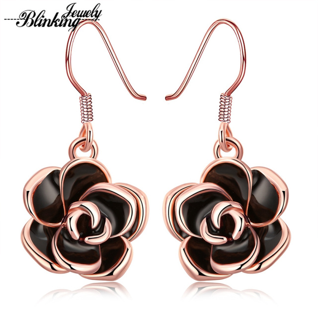 Fashion Trendy Drop Earrings Rose Gold Color Black Paint Rose