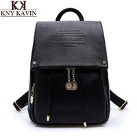 KNY KAVIN Women Backpack Vintage Split Leather Double Shoulder Bag Women Leisure Black Satchel Girl Backpack