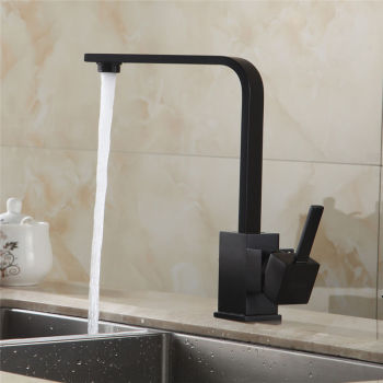 Black Square Kitchen Faucets 360 Degree Rotation Hot and Cold Water Kitchen Sink Faucet Deck Mounted Mixer Tap KD1287 goose neck bathroom kitchen faucet 360 rotation single handle kitchen mixer taps with hot and cold water black deck mounted