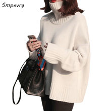 Smpevrg casual high neck European women sweaters and pullovers long sleeve cashmere knitted warm loose