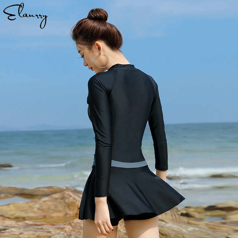 Костюмы для серфинга с длинными рукавами, однотонное сексуальное купальное платье для женщин, цельный спортивный пляжный купальник для серфинга, костюмы с подкладкой M-2XL
