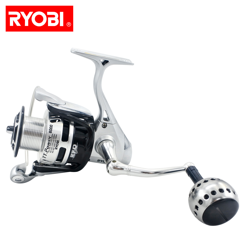 RYOBI high quality fishing reel 6+1BB 5.1:1TT POWER 6000/8000 spinning reel full metal lure fishing reel 22lbs/10kg plueger supreme spinning fishing reel lightweight full metal body 7 1bb 5 2 1 6 2 1 lure fishing tackle accessory spinning reel