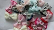 20pcs/lot New Mix Designs Rhinestone Pearls Style Dog Cilp Bows pet hair Clips dog accessories grooming products Cute Gift