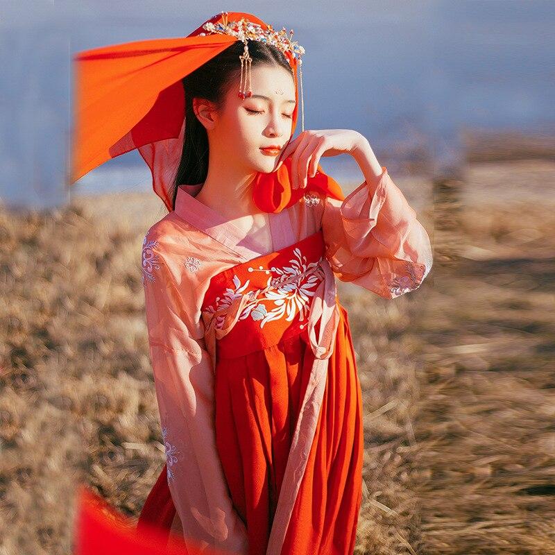 Women's Summer Wear Chinese Wind Red Costume Skirt Han Costume