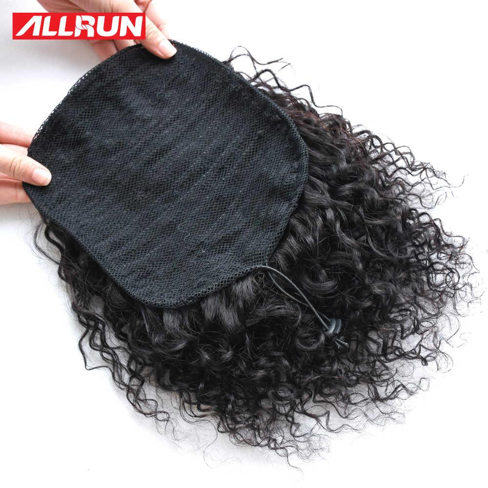 Allrun афро парик конский хвост шнурок Короткие не Реми кудрявый конский хвост клип в человеческие волосы кудрявый вьющиеся перуанский шнурок Puff