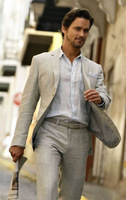 Custom Made Ivory Beige Linen Suit Summer Casual Beach Wedding Suits For Men Groom Best Man Party Prom Male Blazer Traje Hombre