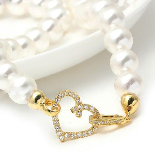 Forme de coeur Micro Pave Zircon plaqué or 925 bijoux en argent Sterling fermoirs résultats avec embouts pour collier de perles SC-CZ067A - 3