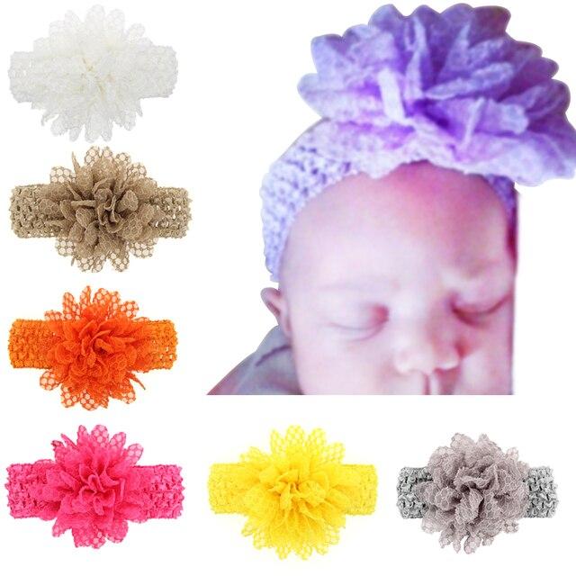 Newborn Elastische Stirnband Kinder reine farbe blume Häkeln muster ...