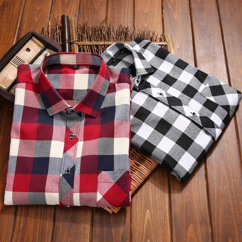 2017 Синий и красный цвета мужские клетчатые рубашки модный бренд осень Повседневная футболка новый утолщаются хлопка с длинным рукавом фланель социальные мужчины платье рубашка