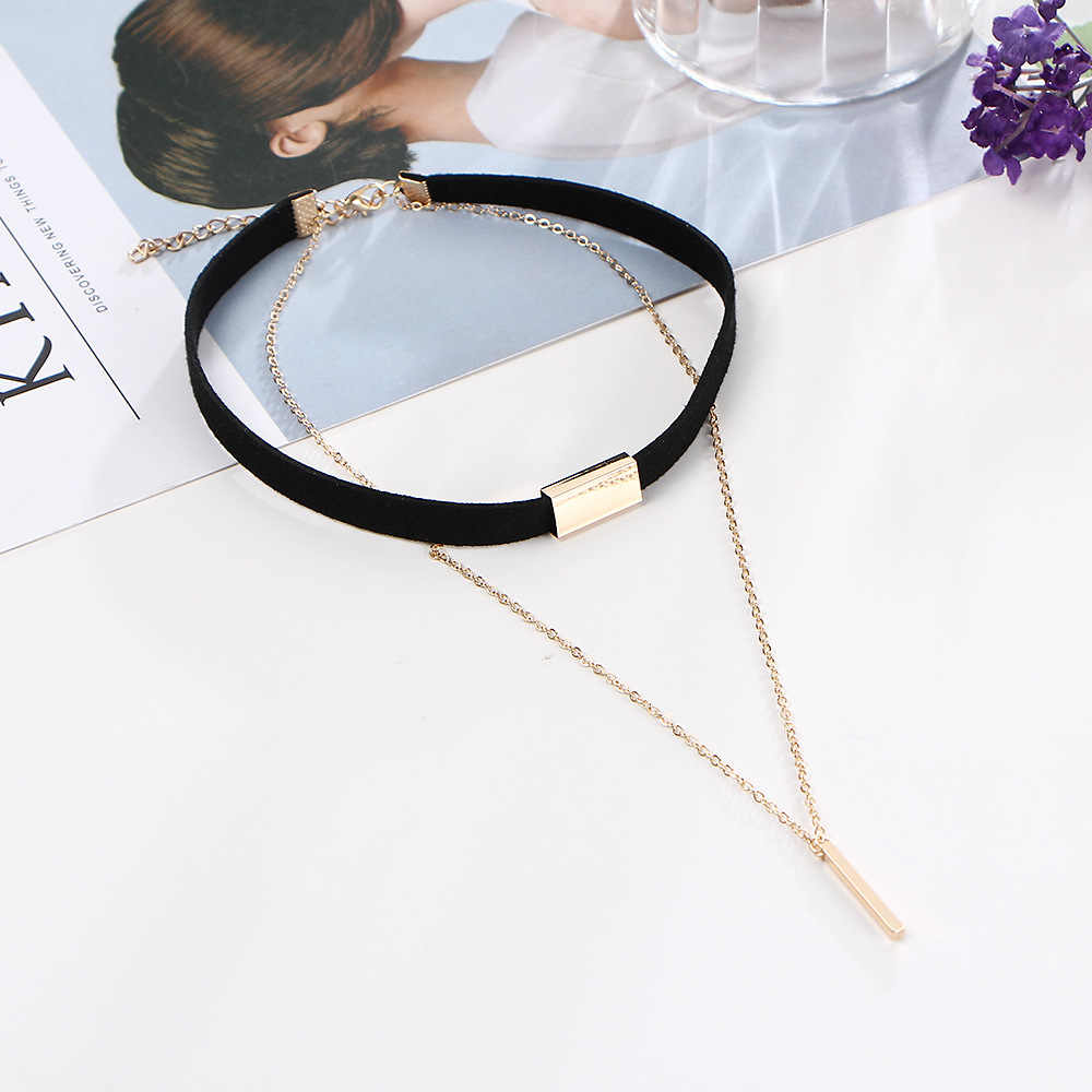 Black Leather Velvet Chokers Women Double Link Chain Pendant Necklaces Gold Color Tassel Statement Charm Accessories Jewelry