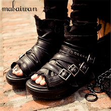 Black Punk Style Women Summer Boots Buckles Genuine Leather Platform Sandals Rome Peep Toe Gladiator Sandal Ankle Booties Wedges