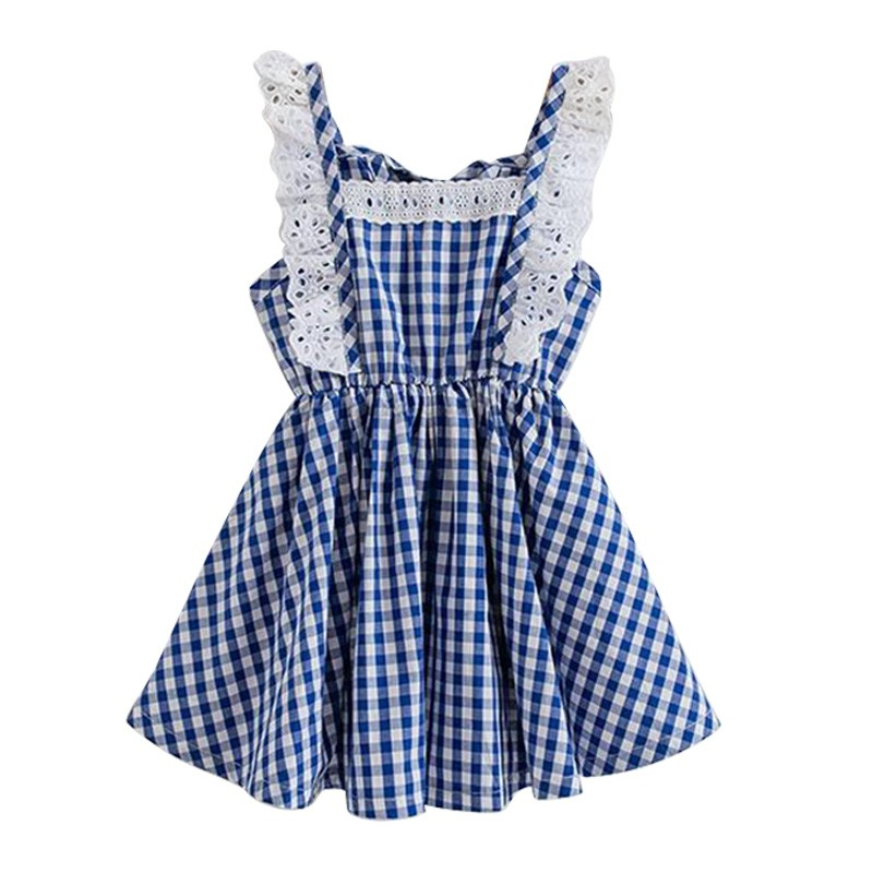 Logical Hot Sale Little Baby Girls Dresses Fly Sleeve Clothes Princess Summer Plaid Elastic Lace Child Kids Dressclothes Reputation First Wallets Luggage & Bags