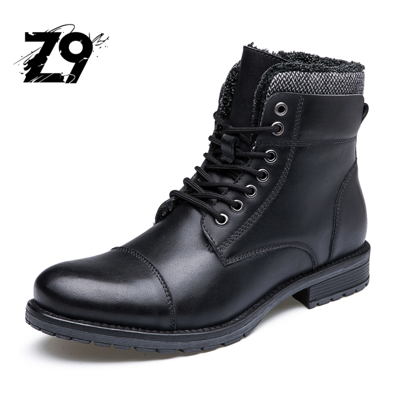 Top new men boots fashion casual high shoes style Plush super warm high quality lace-up leather ankle brand season winter цена