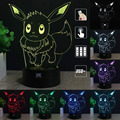 H Y Pokemon pikachu 3D Night Light RGB Changeable Mood Lamp LED Light DC 5V USB Decorative Table Lamp Get a free remote control