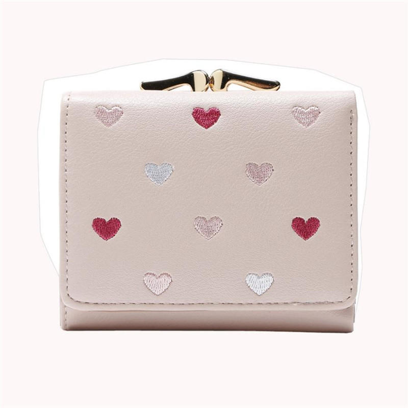 Heart Small Wallet Women Zipper Coin Purse Fashion Elegant Women Wallets Large Capacity Cute Card Hold Short Purses  carteiras fashion colorful lady lovely coin purse solid golden umbrella clutch wallet large capacity zipper women small bag cute card hold
