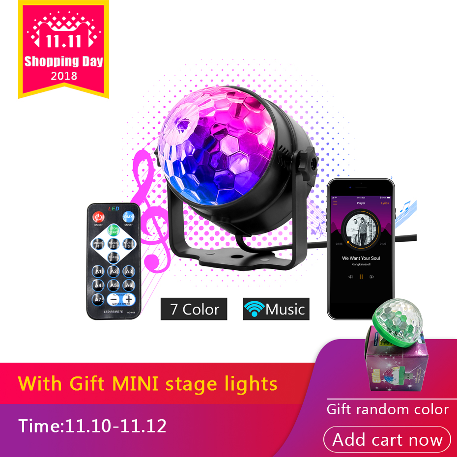 7 Colors DJ Disco Ball Lumiere 3W Sound Activated Laser Projector RGB Stage Lighting effect Lamp Light Music Christmas KTV Party 3w rgb led dj stage light auto rotating projector disco club ball lamp party show dmx lighting effect battery powered