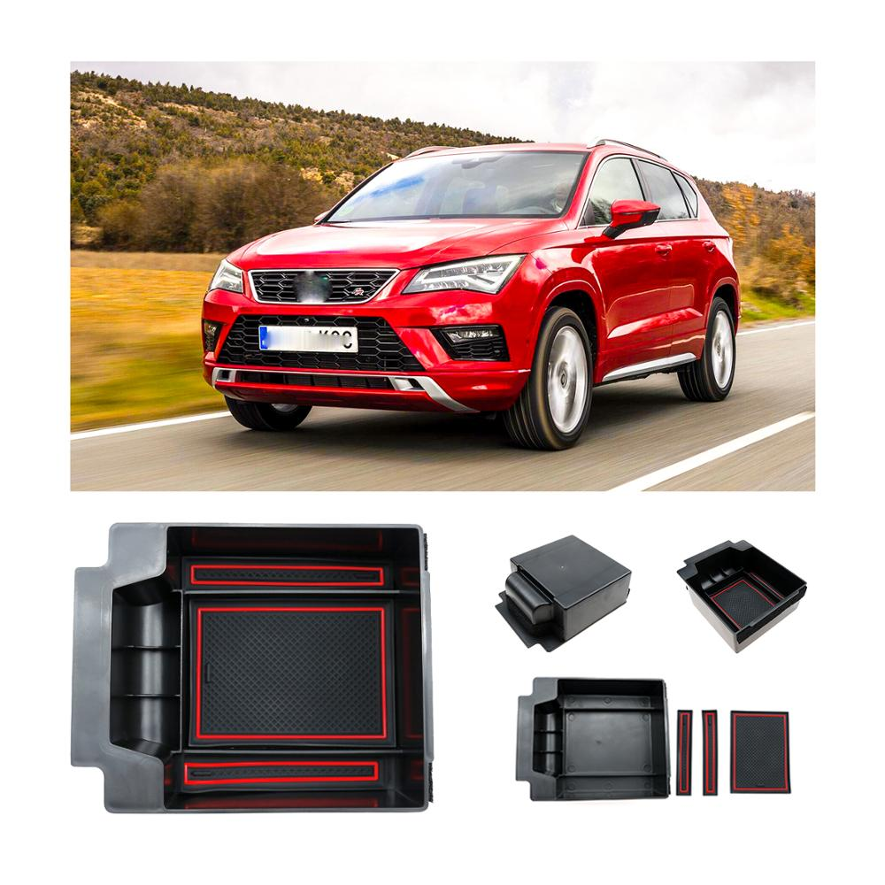 RUIYA Anti-slip Pad Armrest Storage Box For Seat Ateca 2019 Car Center Console Organizer,Car Interior Holder Secondary Container