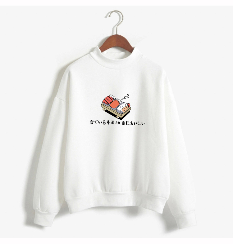 Women Hoodies 19 Autumn Winter Sweatshirts Cartoon Kawaii Sushi Japanese Print Fleece Loose Moletom Feminino Harajuku Pullover 8