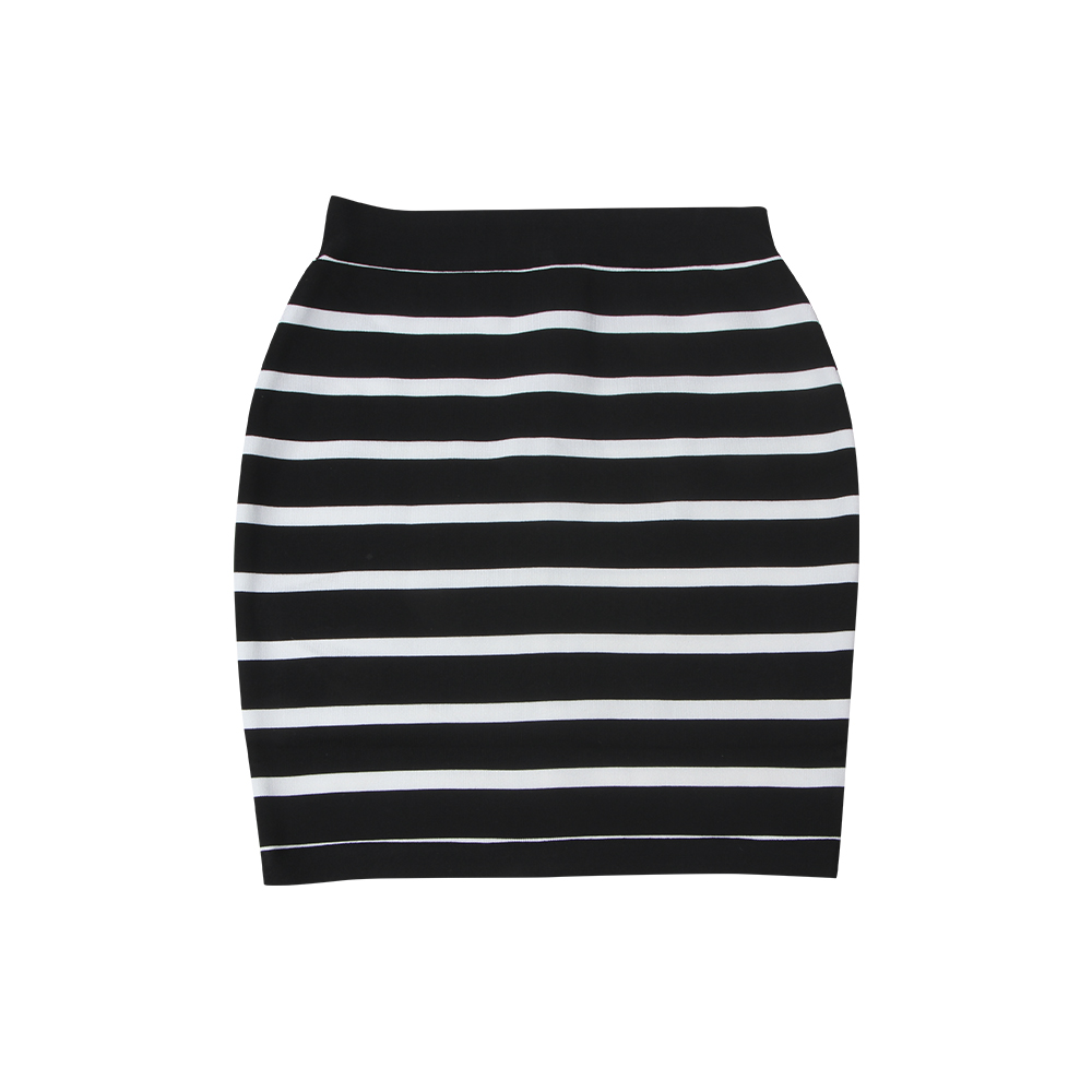 KLEEZY New Fashion 2018 Casual Office Lady Striped Black&White Above Knee Mini Pencil Skirts DHH4042
