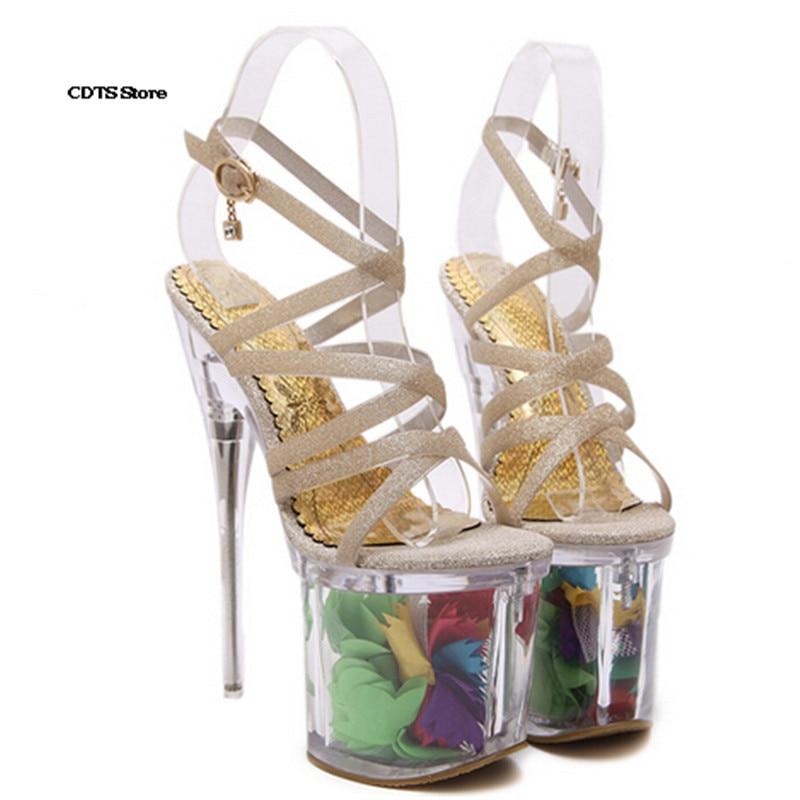 Mariage Chaussures Diamant Talons Plates Femme sangle 19 formes argent Cristal Mince Cm Pompes Fleur Sandales Cad Or Transparent Boucle Croix 20 De zqUaPP